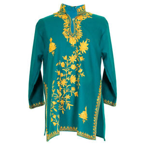 Intricitately-Embroidered-floral-Design-Women-039-s-Green-Tunic-Top-Kurti-Size-30