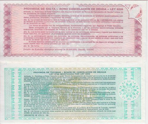 UNC Tucuman /& Salta Pair of Provisional Notes Argentina Banknote