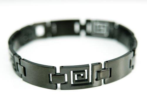 """Negro 8.6/"""" pulsera magnética alivio del dolor Cadena De Acero Unisex San Valentín Regalo De Navidad"""