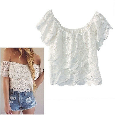 1PC Sexy Women Lace Crochet Tops Off-Shoulder Tee Shirt Casual Blouse Cuddly