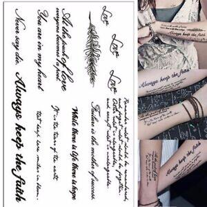 Temporary Tattoos Lovely English Word Body Art Women Men Fake Tattoo ...