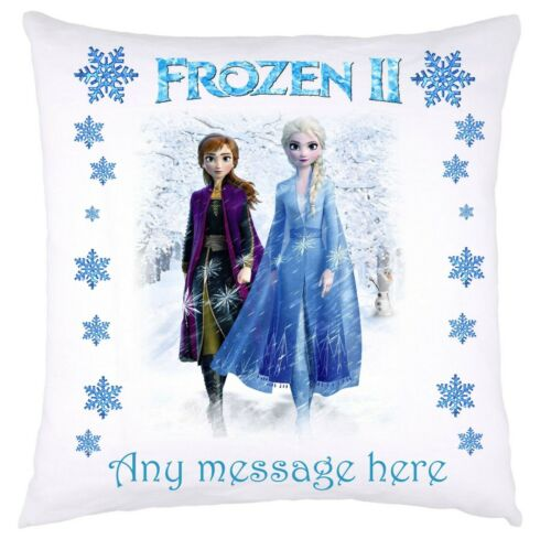 PERSONALISED FROZEN 2  DISNEY CUSHION COVER ELSA ANNA OLAF IDEAL CHRISTMAS GIFT
