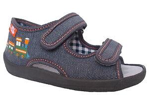 Neu-New-Renbut-Kinder-Jungen-Baby-Hausschuhe-Sandalen-Erste-Schuhe-Grau-Orange