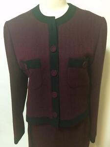 Tom K.T. Chui Hong Kong Custom Tailor Suit Skirt Sz 6-8 Herringbone Classic Wine