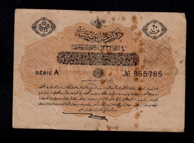 TURKEY   20 PIASTRES   L. 1332    PICK # 97  FINE+.