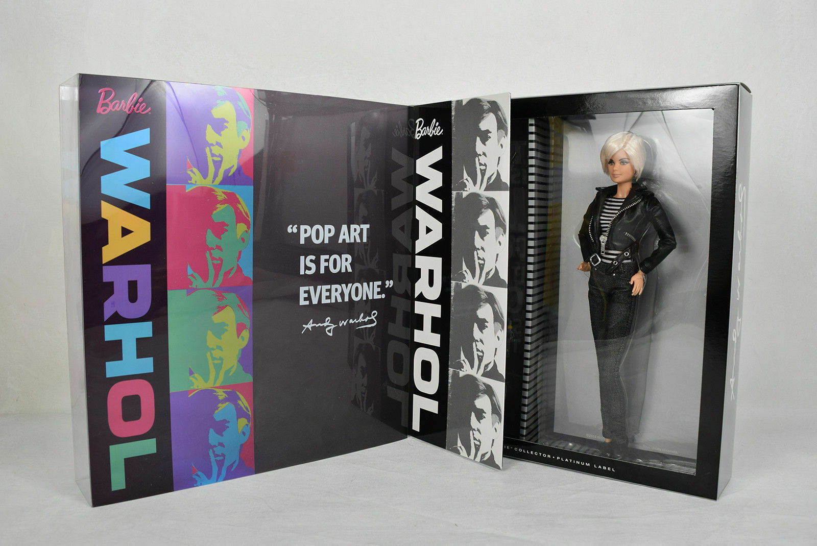 Raro Nuevo Sellado platino etiqueta muñeca Barbie Andy Warhol nunca quitado de la Caja Mattel 2015