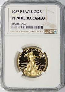 1987-P $25 Proof Gold 1/2 oz American Eagle NGC PF70 Ultra Cameo