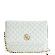 NWT GUESS Quilted Flap Crossbody Handbag Purse Chain Straps White