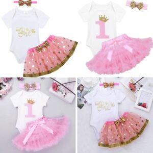43e1715e0b5c Baby 1st First Birthday Romper Toddler Girl Boy Cake Smash Bodysuit ...