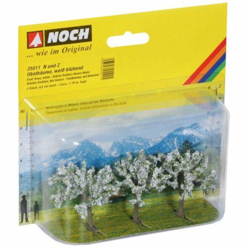 3 Stück Z NOCH 25511 Obstbäume 4,5 cm hoch Spur N weiß blühend