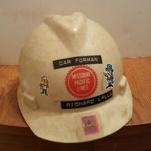 Missouri-Pacific-Lines-Railroad-Hard-Hat-MSA-V-Guard-vintage-1970-039-s-80s