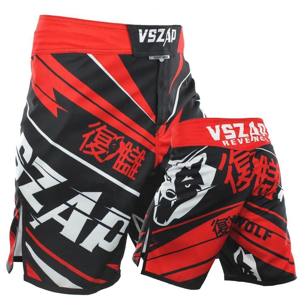 Mma Trunks Grappling  Fighting Shorts Wolf Heads Red Letters Printed Professional  happy shopping