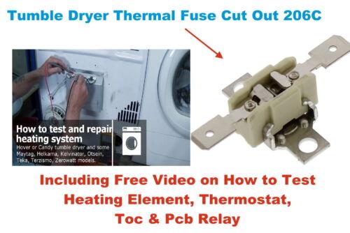 CANDY GVC D101WB-80 Sèche-linge Thermostat Thermal Fuse ajourées 206 C