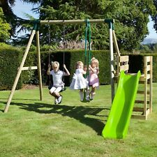 Rebo Wooden Swing Set plus Deck & Slide