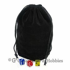 NEW Extra Large Black Velveteen Dice Bag RPG D&D 8x7.5 inches