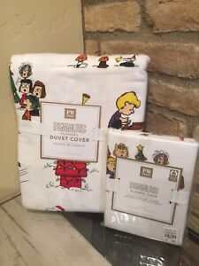 Pottery-Barn-Peanuts-Christmas-twin-flannel-duvet-And-Sham-Snoopy-New