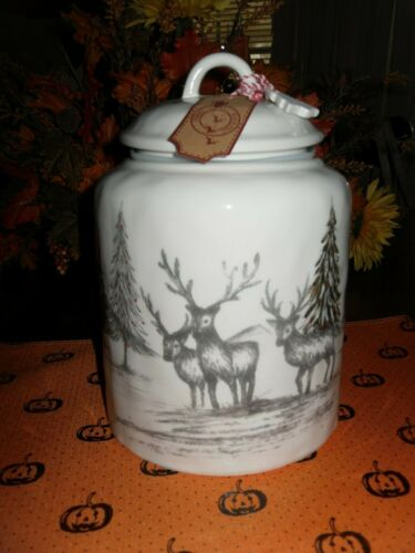 "DEER CANISTER BY 10 STRAWBERRY STREET 11/"" X 7/"" DEER AND TREES CHRISTMAS WINTER"