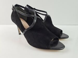 Diana-Ferrari-Black-Suede-Leather-Peep-Toe-Sandal-Buckle-Stiletto-Heel-Size-12