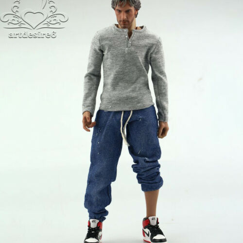 """1//6 Scale Gray Men/'s Long Sleeve Shirt Coat Bottoming Fit 12/"""" Male Figure Body"""