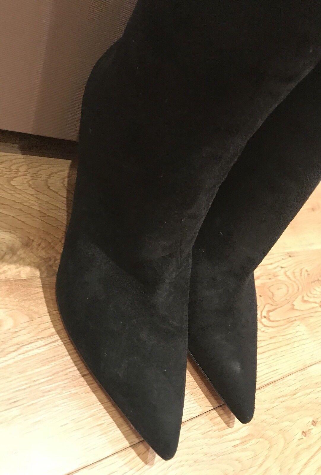 Recortes de precios estacionales, beneficios de descuento Giannvito Rossi hasta negro la rodilla negro hasta botas de gamuza. nuevo y en caja. Talla IT40 12655a