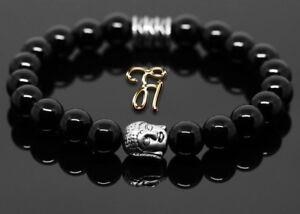 Onyx-Armband-Bracelet-Perlenarmband-Buddhakopf-silber-8mm