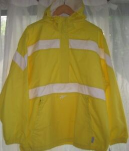 REEBOK-Mens-Windbreaker-Jacket-Zip-pullover-Hood-Vintage-Bright-Yellow-Large