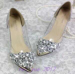 Womens-Bling-Rhinestone-Wedding-Pointy-Toe-Mid-Heels-Stiletto-Pump-Data-Shoes-SZ