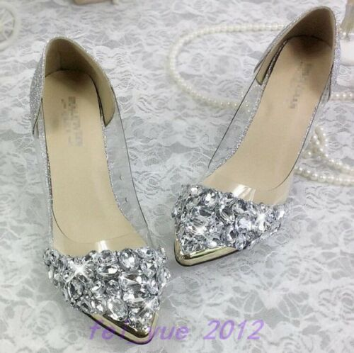 Womens Bling Rhinestone Wedding Pointy Metal Toe Clear Mid Heels Pump Party Shoe