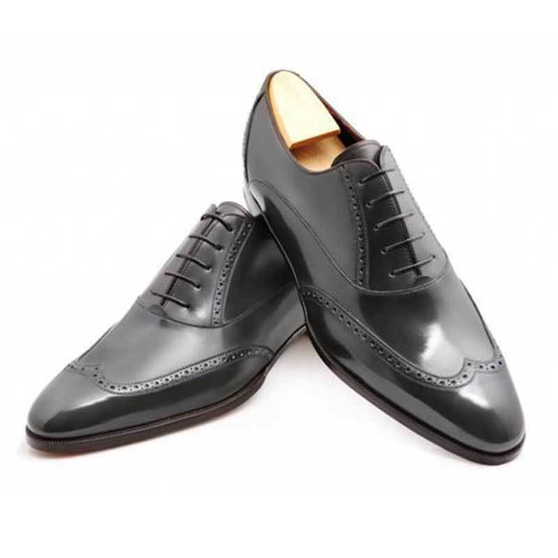 Hecho a mano para hombres Genuino Negro Cuero Oxford Brogue punta del ala Derby Zapato De Boda