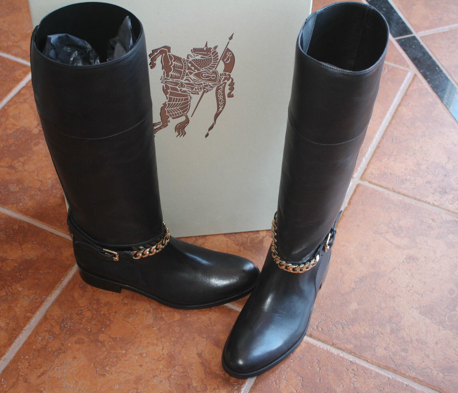 BURBERRY PERRIDON schwarz 9us LEATHER Stiefel  9us schwarz  950 3b2686