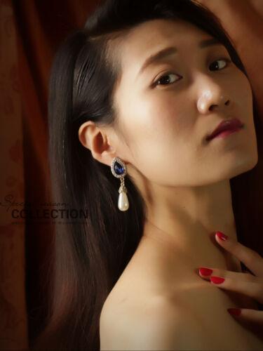 earrings CLIP Golden Drop Navy Blue Pearl Pear Class Marriage YW8