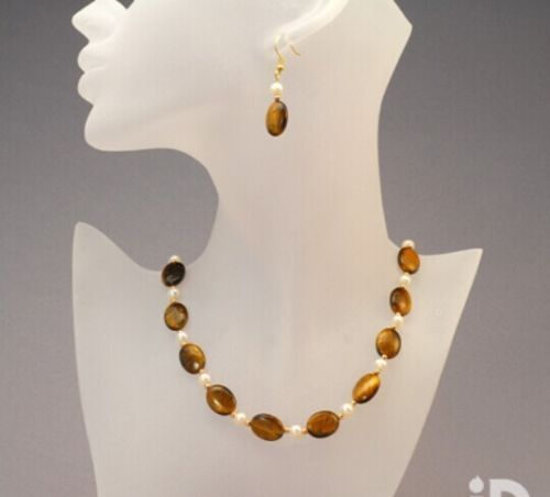 "collier de perles Boucles d/'oreilles Set 18/"" AAA Fashion 13X18mm Naturelle Jaune Oeil de tigre"