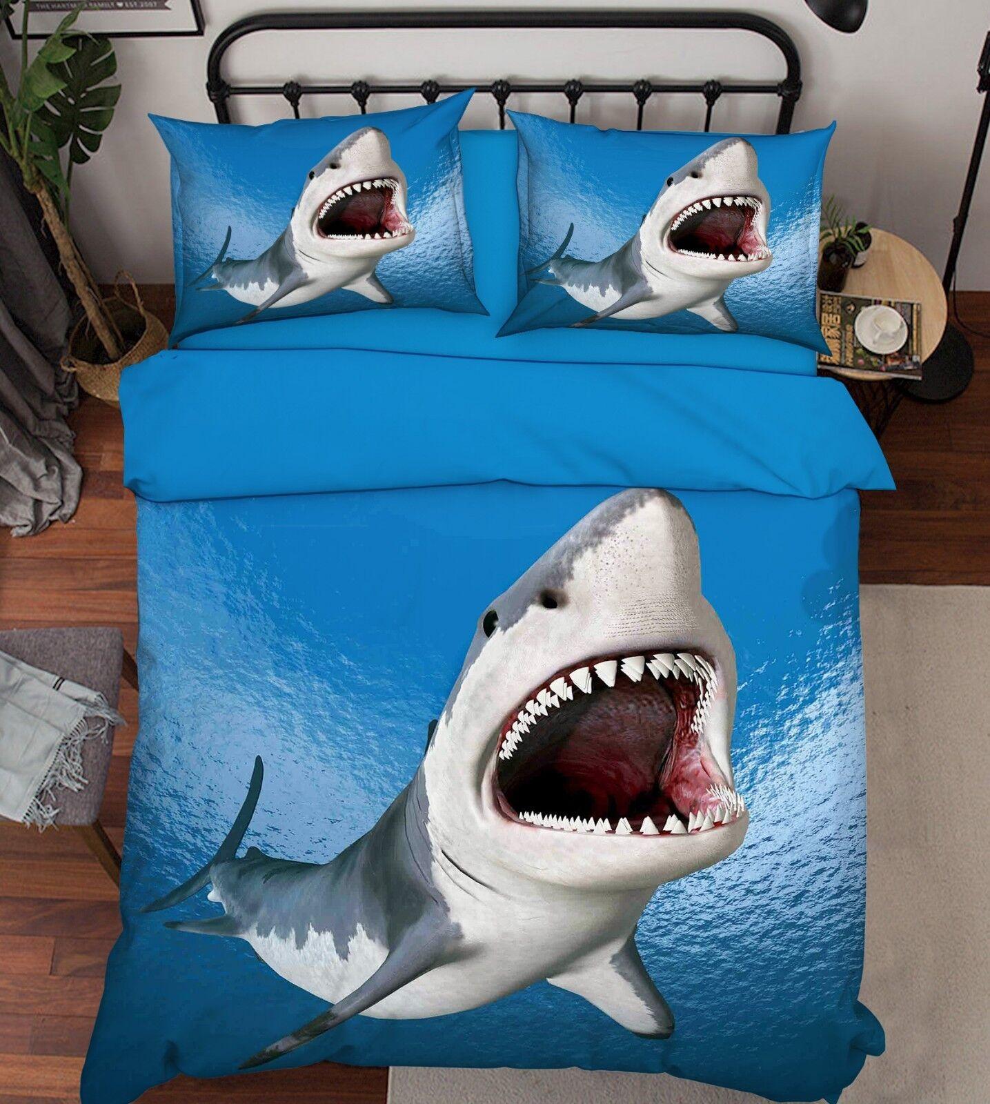 3D Ocean Shark 77 Bed Pillowcases Quilt Duvet Cover Set Single King UK Summer