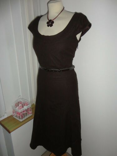 Chocolate Ashley Wool 98 Stunning 12 Brown Uk Shift Ladies Dress Belt New Laura H1Ipq