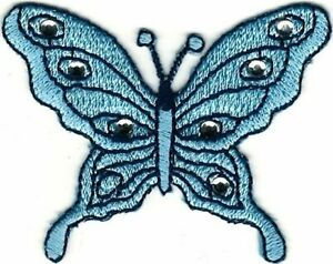 """2.25"""" Blue Stone Butterfly Embroidery Patch"""