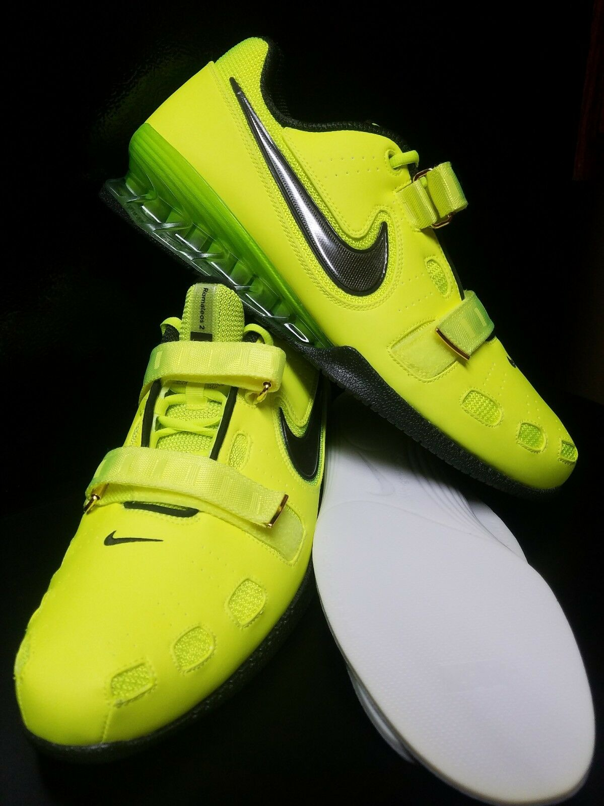 NEW NIKE ROMALEOS II 2 Weightlifting Powerlifting Men's 15 shoes Volt 476927-700