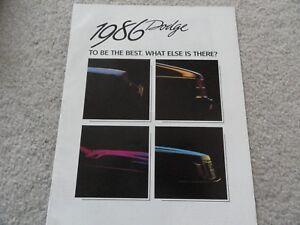 1986 Dodge Sales Brochure Catalog Omni GLH Lancer Daytona 600 Charger Shelby