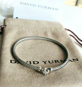 David-Yurman-Cable-Collectibles-Heart-Bracelet-with-Diamonds-Sz-Medium-3mm-NEW