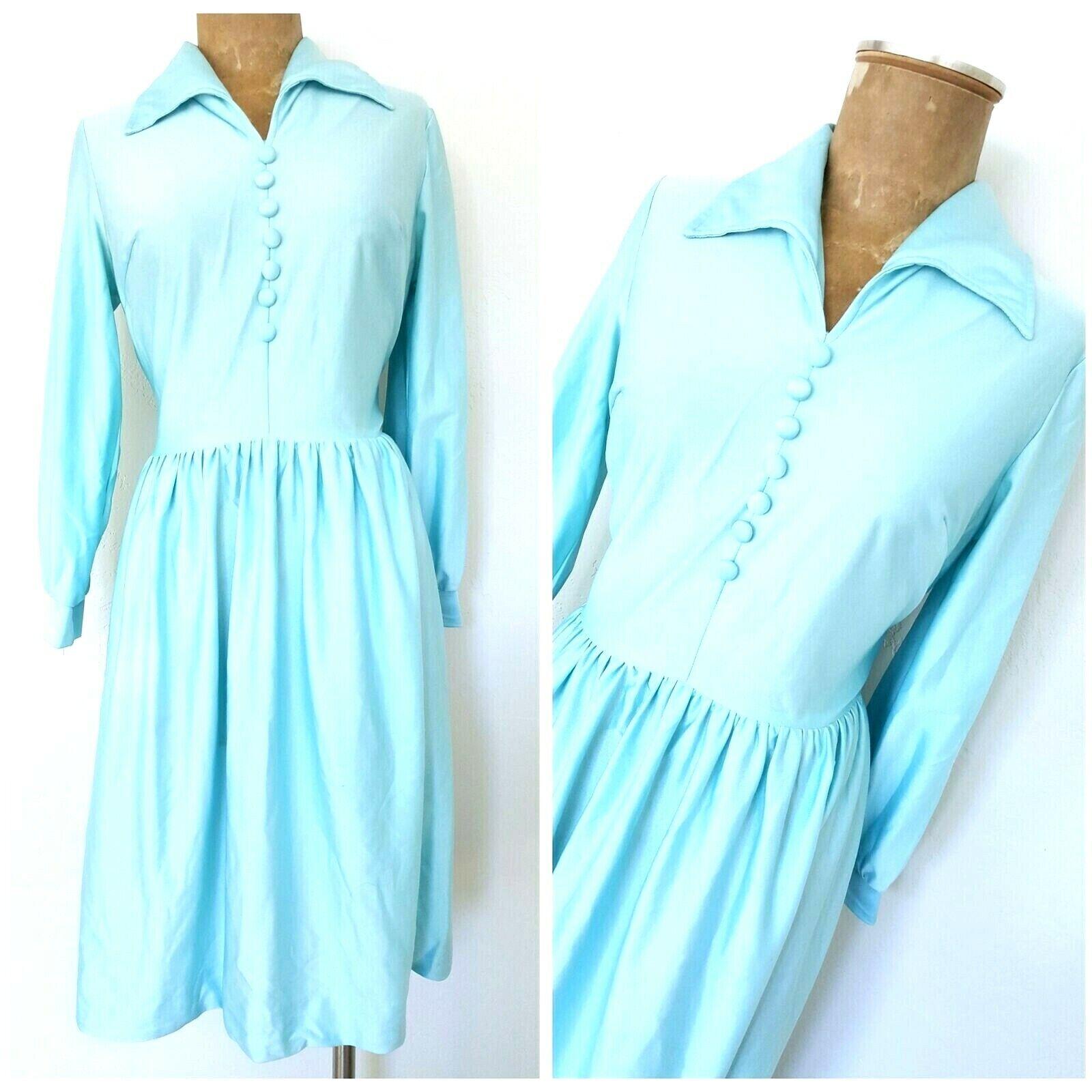 Vintage 70s Pinup Rockabilly Dress Größe Medium Mini Sheer Party Long Collar