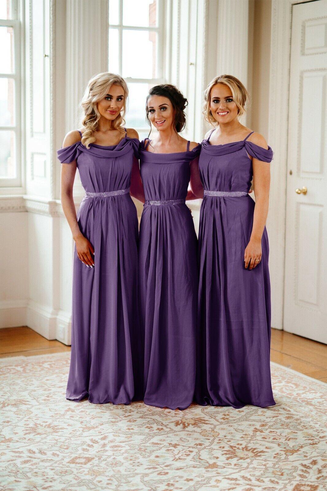 Cadbury Purple Long Bridesmaid Dresses Prom Maxi Formal Evening Gown Uk
