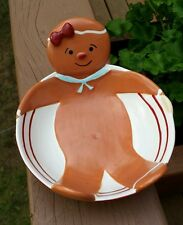 Vintage Russ Gingerbread Man Bowl Heavy Ceramic Hand Painted Signed Dish