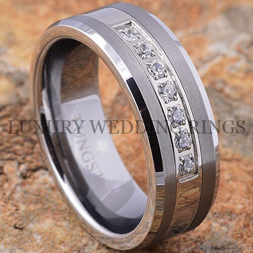 Tungsten Ring Infinity Diamond Wedding Band For Men Or Women Jewelry Size 6-13