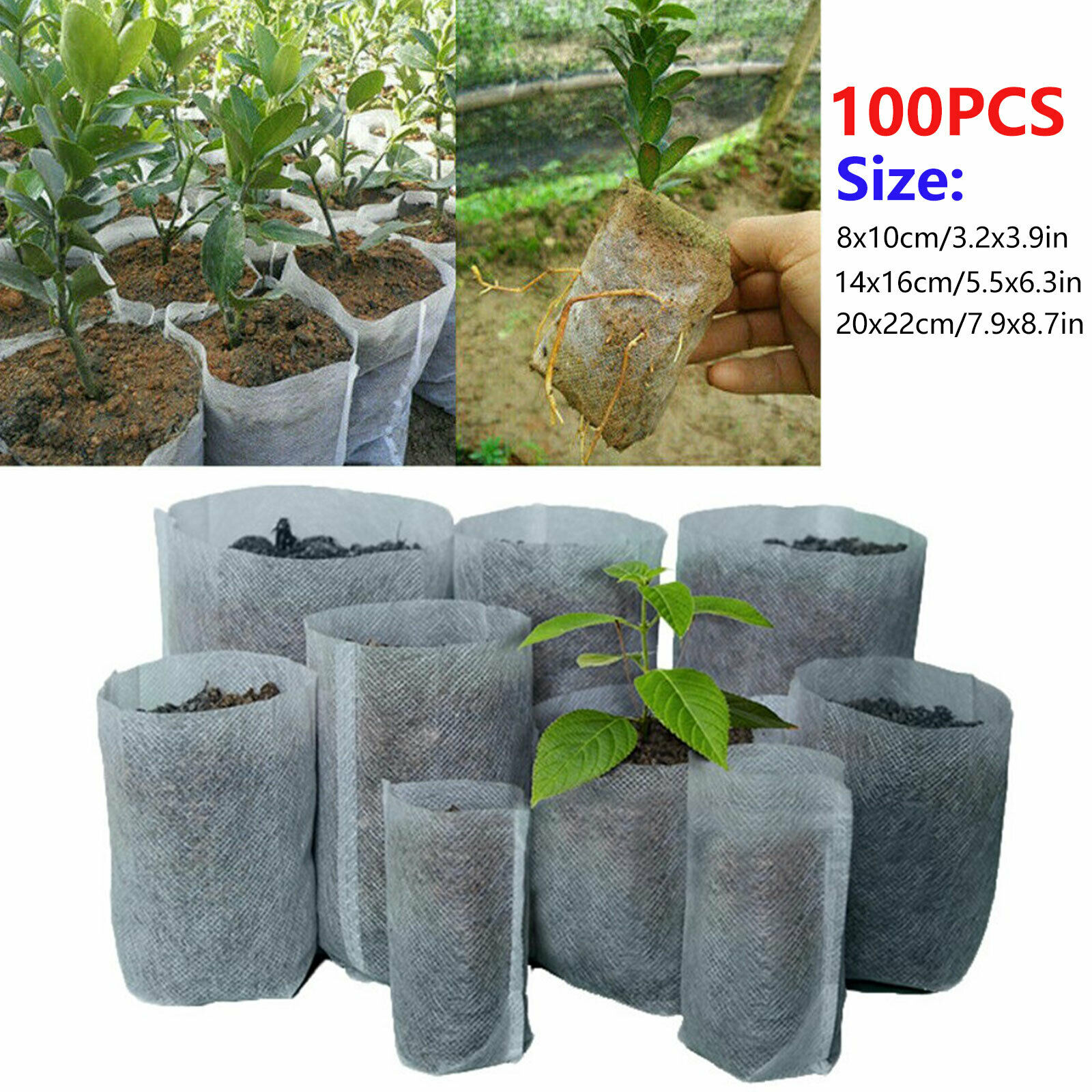 Biodegradable Non-woven Nursery Bags Plant Grow Bags Fabric Pots Pouch 100Pcs A