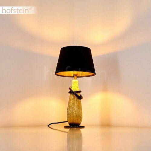 Nacht Tisch Lese Lampen schwarz Stoff Wohn Schlaf Zimmer Leuchte Keramik gold