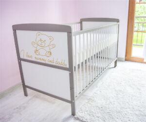 Babybett-Kinderbett-Juniorbett-umbaubar-140x70-Weiss-Grau-nr-a