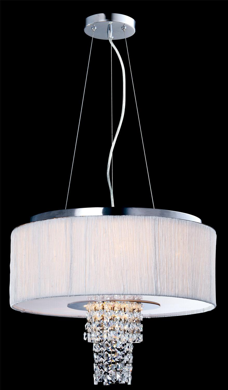 Artiva USA Adrienne 6-Light Stainless Steel , Chrome Crystal Chandelier with Pli