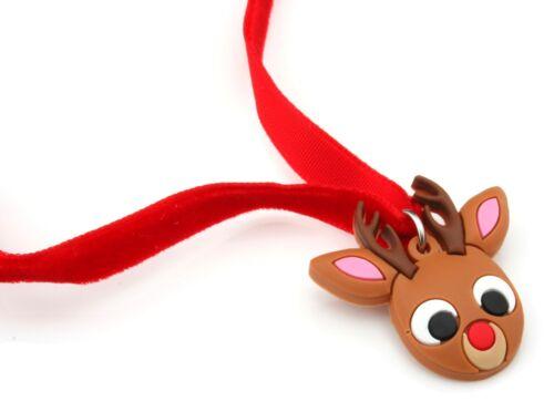 Zest Rubber Rudolph Face on Velvet Ribbon Pendant Necklace Brown /& Red