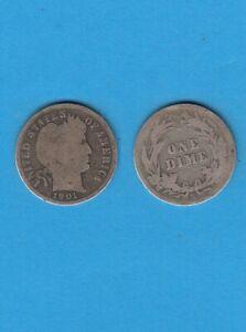 $ Etats-unis One Barber Dime 1901 San-fransisco Silver Coin Usa Rare Date Pour Aider à DigéRer Les Aliments Gras