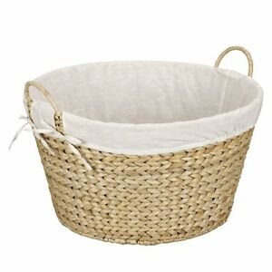 Household Essentials Round Wicker Laundry Hamper with Liner, Natural, New, Free