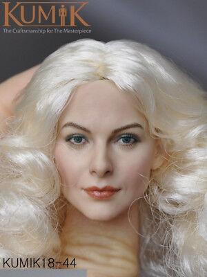 1//6 KUMIK KM18-44 Female Head Caving W White Curls  Hair Fit 12/'/' Action Figure